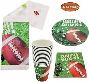 Football Party Supplies - 16 Football Themed Cups, 16 Napkins, 16 Football Plate