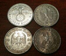 Germany Nazi 5 Reichsmark Hindenburg .900 4 Silver Coins 602