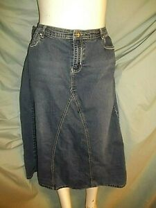 "Size 18W Cato blue jean denim  5 embroidery pockets skirt Waist 34"" X Len 34"""