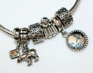 PANDORA Sterling & 14k Gold Charm Necklace w/6 Charms Angel, San Francisco, Bear
