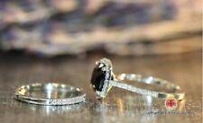 White Gold Over Cushion Black Diamond Engagement Wedding Band Bridal Ring Set