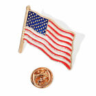 Goldtone American USA Flag Enamel Lapel Pin Brooch Patriotic Emblem Multi Color