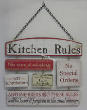 Wooden Wall Sign Kitchen Rules No Complaining No Special Orders No Late Arrivals