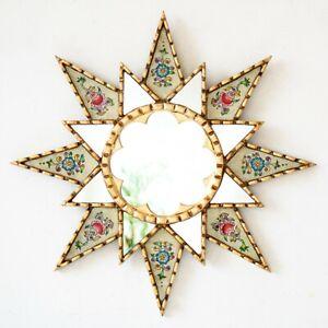 """Round Accent Wall Mirror 17.7"""", Beige Ornate Starburst Mirrors wall decorative"""