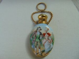 PRETTY ANTIQUE FRENCH PAINTED PORCELAIN METAL SCENT PERFUME BOTTLE CHATELAINE