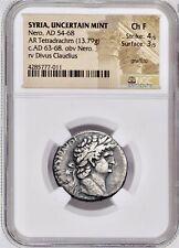 ROMAN ANCIENT SYRIA, Antioch NERO / CLAUDIUS AR (silver) Tetradrachm NGC