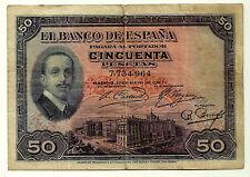BILLETE DE 50 PESETAS DE 1927 (BC+) SIN SELLO REPUBLICANO (SIN SERIE)