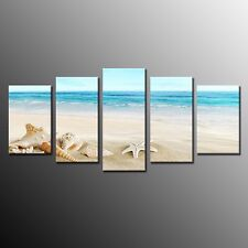 FRAMED Sea Shell Starfish Beach Print Poster Canvas Wall Art PaintingI 5 pieces