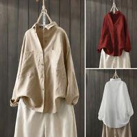 ZANZEA Women Summer Cotton T-Shirt Tee Top Stylish Fashion Long Sleeve Blouse