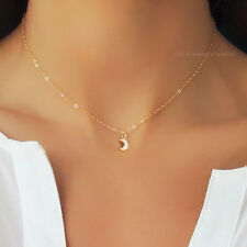*RARE* $120 BHLDN 14K GOLD CRYSTAL MOON CRESCENT CHAIN NECKLACE ANTHROPOLOGIE
