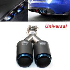 "Universal Car SUV Oval Carbon Fiber + Steel Exhaust Dual Tip 2.5"" Muffler Pipe"