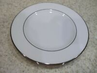 "4 Pc Lenox 2 Salad 8"" 2 Dinner Plates 10 7/8"" White Scroll Decor Silver Trim"
