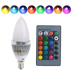 E14 3W RGB LED 15 Color Changing Candle Light Bulb Lamp Remote Control AC85-265V