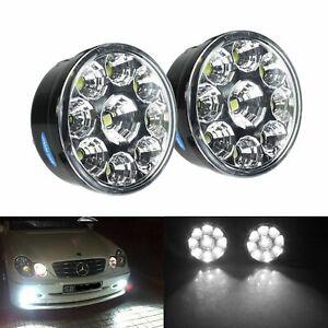 Pair 9 LED DRL Daytime Running Fog Light Lamp For Citroën C2 Vauxhall Astra Seat
