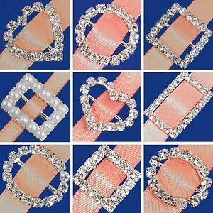 STUNNING DIAMANTE BUCKLE SLIDERS Craft Crystal Circle Heart Square 6-14mm Ribbon