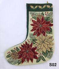 Vintage Needlepoint Christmas Stockings with Poinsettias & Green Background S02