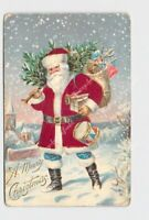 ANTIQUE POSTCARD MERRY CHRISTMAS SANTA RED SILK COAT SACK OF TOYS TREE ON SHOULD