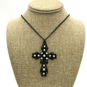 Black Cross Rhinestone Filigree Pendant Necklace Black Chain