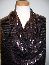 Chocolate Brown Paillettes Beaded Silk Chiffon Fabric