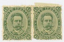 1889 ITALY Stamp #54 45c gray green, PAIR, MINT (1) MNH (2) MHR  RARE!!!