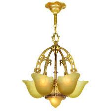 Antique 1930s Art Deco Chandelier Slip Shade Ceiling Light Fixture (ANT-904)