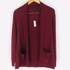 Talbots Red Merino Wool Drape Front Long Open Pockets Cardigan PS Petite New #X