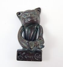 Vintage Lovely Brass Cheshire Cat Door Knocker Nice Patination !