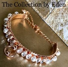 Swarovski Bracelet- Rose Gold Bangle w/ Spikes Genuine Crystal Pearl Accents