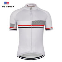 New Mens Cycling Jersey Short Sleeve Breathable Riding Man Women Bicycle White