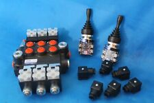 HYDRAULIC BANK MOTOR 3 SPOOL VALVES 50L/MIN ELECTRIC 12V + 2 JOYSTICKS