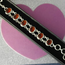 "BEAUTIFUL CITRINE TOPAZ 925 STERLING SILVER BRACELET 8"" INC LONG 17.4 GR. IN BOX"