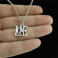 "18"" Chain Alloy Collar Short Necklace Silver Love Word Pendant Lovers Jewelry"