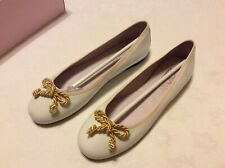 Plain Rope Trim Cara Ballerina Shoes In White With Gold Trim Size 3/36 New Boxed