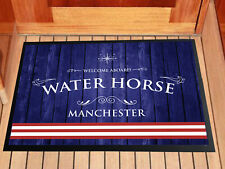 Personalised Barge Canal Boat Blue & red stripes mat in door 60 x 40 cm