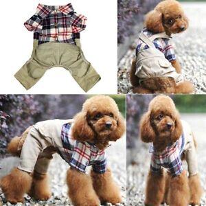 Pet Dog Summer Coat 4 Legs Plaid  Cute Puppy Cat Jumpsuit Clothes Clothing