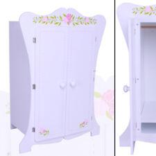 XXL PUPPENSCHRANK 355 weiß Kinder-Kleiderschrank Puppenmöbel Holz Spielzeug rosa
