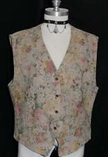 BEIGE LINEN VEST Jacket German Waist Coat Floral FLOWER SPRING Skirt 42 12 M