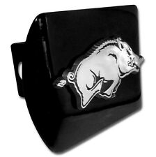 arkansas running hog logo all metal black chrome trailer hitch cover made in usa