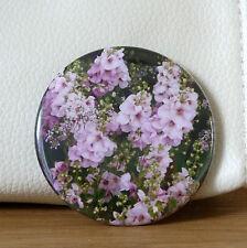 FLORAL POCKET MIRROR GIFT BAG PURPLE PINK STOCKING FILLER MAKE UP HANDBAG FLOWER