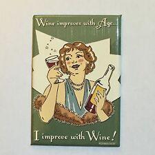 Fridge / Tool Box Retro Wine Improves With Age, I Improve With Wine funny