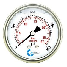 "2-1/2"" Pressure Gauge, Stainless Steel Case, Liquid Filled, Back Mnt 0-400 PSI"