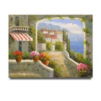 NY Art- Seaside Spanish Villa 36x48 Original Landscape Oil Painting on Canvas!