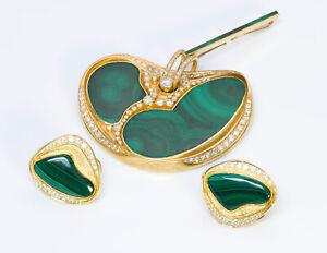 Malachite Diamond 22K Yellow Gold Pendant Earrings Set