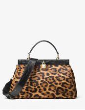 Michael Kors Gramercy Leopard Calf Hair Butterscotch Handbag Satchel NWT $428