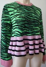 KENZO X H&M Green & Black Tiger Pattern Pink Hem Knitwear Jumper Sweater M BNWT