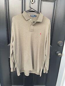 Polo Ralph Lauren Men Medium Brown 100%Cotton Solid Polo