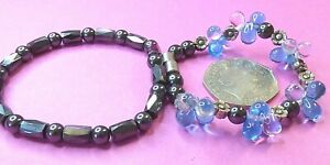 PG26-- 2 GORGEOUS MAGNETIC HEMATITE BRACELETS--ONE WITH BLUE GLASS BEADS
