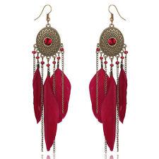 Belles plumes Femmes Vintage Rouge Boucles d'oreille en alliage Tassel Goutte