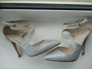 NEXT silver stiletto ankle strap ladies pointed toe court shoe U.K. 4 (EUR 37)