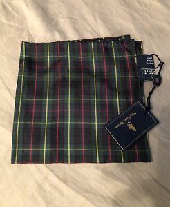 Vintage Polo Ralph Lauren Pocket Square Tartan Plaid 100% Silk Handmade